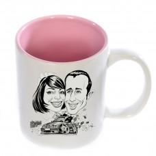 Puodelis su rožiniu vidumi